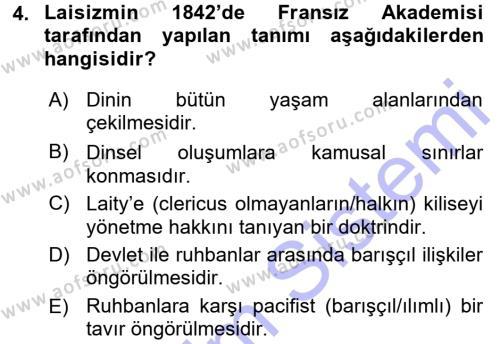 Türkiye´nin Toplumsal Yapısı Dersi 2015 - 2016 Yılı Dönem Sonu Sınavı 4. Soru