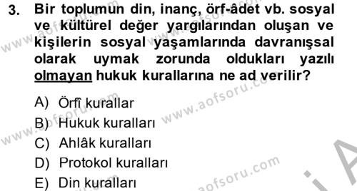 Sosyal Davranış ve Protokol Dersi 2013 - 2014 Yılı Ara Sınavı 3. Soru