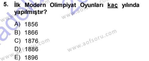 Spor Yönetimi Bölümü 1. Yarıyıl Spor Bilimlerine Giriş Dersi 2015 Yılı Güz Dönemi Ara Sınavı 5. Soru