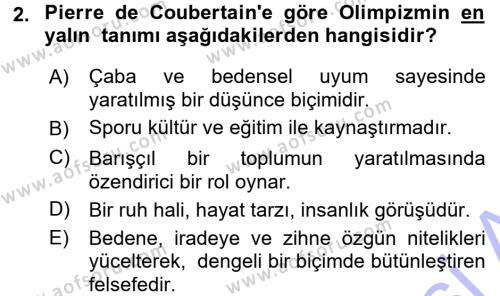Spor Bilimlerine Giriş Dersi 2015 - 2016 Yılı Dönem Sonu Sınavı 2. Soru