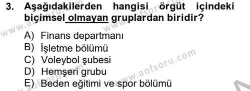 Spor Yönetimi Bölümü 2. Yarıyıl Spor Yönetimi Dersi 2013 Yılı Bahar Dönemi Dönem Sonu Sınavı 3. Soru