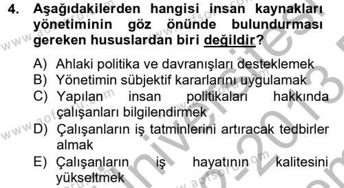 Spor Yönetimi Bölümü 2. Yarıyıl Spor Yönetimi Dersi 2013 Yılı Bahar Dönemi Dönem Sonu Sınavı 4. Soru