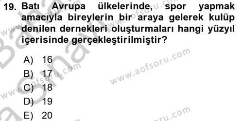 Spor Yönetimi Dersi Ara Sınavı Deneme Sınav Soruları 19. Soru