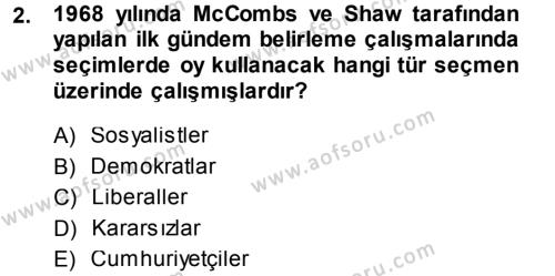 Spor Yönetimi Bölümü 1. Yarıyıl Spor ve Medya İlişkisi Dersi 2014 Yılı Güz Dönemi Ara Sınavı 2. Soru
