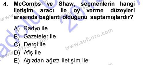 Spor Yönetimi Bölümü 1. Yarıyıl Spor ve Medya İlişkisi Dersi 2014 Yılı Güz Dönemi Ara Sınavı 4. Soru