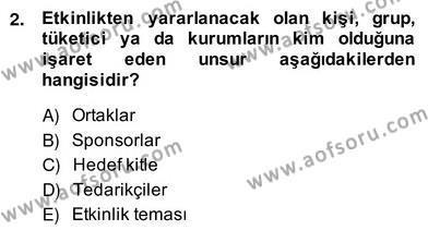 Etkinlik Yönetimi Dersi 2013 - 2014 Yılı (Vize) Ara Sınav Soruları 2. Soru
