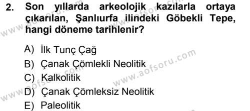 Tarih Bölümü 1. Yarıyıl Eski Anadolu Tarihi Dersi 2013 Yılı Güz Dönemi Ara Sınavı 2. Soru