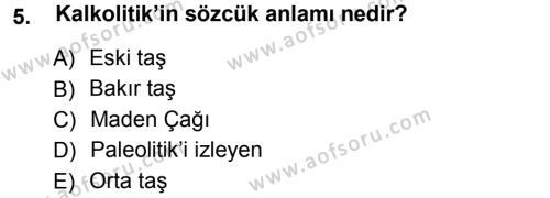 Tarih Bölümü 1. Yarıyıl Eski Anadolu Tarihi Dersi 2013 Yılı Güz Dönemi Ara Sınavı 5. Soru