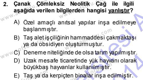 Tarih Bölümü 1. Yarıyıl Eski Anadolu Tarihi Dersi 2014 Yılı Güz Dönemi Ara Sınavı 2. Soru