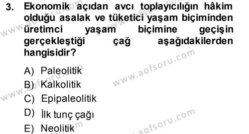 Tarih Bölümü 1. Yarıyıl Eski Anadolu Tarihi Dersi 2014 Yılı Güz Dönemi Ara Sınavı 3. Soru