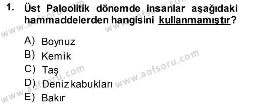 Tarih Bölümü 1. Yarıyıl Eski Anadolu Tarihi Dersi 2014 Yılı Güz Dönemi Dönem Sonu Sınavı 1. Soru