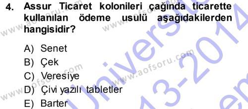 Tarih Bölümü 1. Yarıyıl Eski Anadolu Tarihi Dersi 2014 Yılı Güz Dönemi Dönem Sonu Sınavı 4. Soru