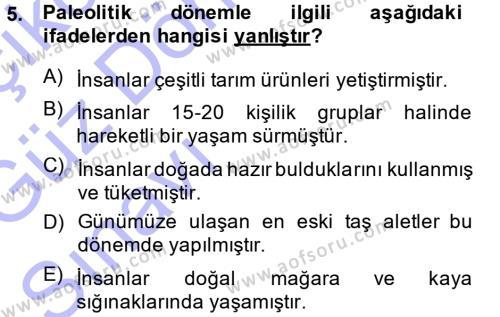 Tarih Bölümü 1. Yarıyıl Eski Anadolu Tarihi Dersi 2015 Yılı Güz Dönemi Ara Sınavı 5. Soru
