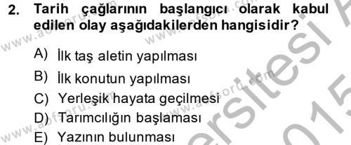 Tarih Bölümü 1. Yarıyıl Eski Anadolu Tarihi Dersi 2015 Yılı Güz Dönemi Dönem Sonu Sınavı 2. Soru