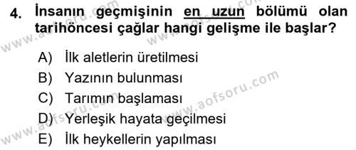Tarih Bölümü 1. Yarıyıl Eski Anadolu Tarihi Dersi 2016 Yılı Güz Dönemi Ara Sınavı 4. Soru