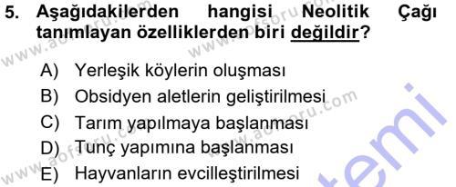 Tarih Bölümü 1. Yarıyıl Eski Anadolu Tarihi Dersi 2016 Yılı Güz Dönemi Ara Sınavı 5. Soru
