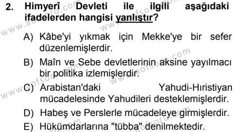 Tarih Bölümü 1. Yarıyıl İslam Tarihi ve Medeniyeti I Dersi 2013 Yılı Güz Dönemi Ara Sınavı 2. Soru
