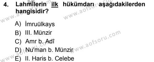 Tarih Bölümü 1. Yarıyıl İslam Tarihi ve Medeniyeti I Dersi 2013 Yılı Güz Dönemi Ara Sınavı 4. Soru