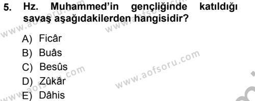 Tarih Bölümü 1. Yarıyıl İslam Tarihi ve Medeniyeti I Dersi 2013 Yılı Güz Dönemi Ara Sınavı 5. Soru