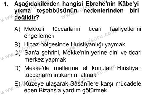 Tarih Bölümü 1. Yarıyıl İslam Tarihi ve Medeniyeti I Dersi 2013 Yılı Güz Dönemi Dönem Sonu Sınavı 1. Soru