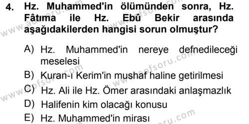 Tarih Bölümü 1. Yarıyıl İslam Tarihi ve Medeniyeti I Dersi 2013 Yılı Güz Dönemi Dönem Sonu Sınavı 4. Soru