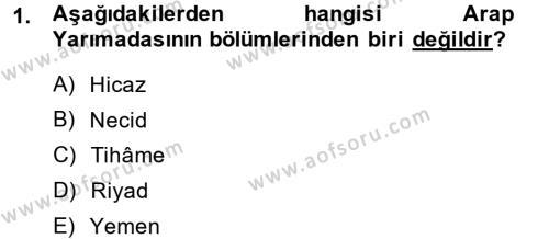 Tarih Bölümü 1. Yarıyıl İslam Tarihi ve Medeniyeti I Dersi 2014 Yılı Güz Dönemi Ara Sınavı 1. Soru