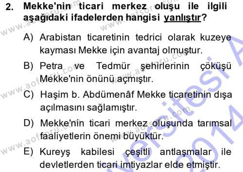 Tarih Bölümü 1. Yarıyıl İslam Tarihi ve Medeniyeti I Dersi 2014 Yılı Güz Dönemi Ara Sınavı 2. Soru