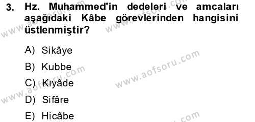 Tarih Bölümü 1. Yarıyıl İslam Tarihi ve Medeniyeti I Dersi 2014 Yılı Güz Dönemi Ara Sınavı 3. Soru