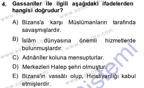 Tarih Bölümü 1. Yarıyıl İslam Tarihi ve Medeniyeti I Dersi 2014 Yılı Güz Dönemi Ara Sınavı 4. Soru