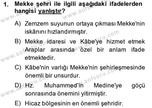 Tarih Bölümü 1. Yarıyıl İslam Tarihi ve Medeniyeti I Dersi 2014 Yılı Güz Dönemi Dönem Sonu Sınavı 1. Soru