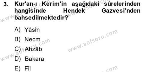 Tarih Bölümü 1. Yarıyıl İslam Tarihi ve Medeniyeti I Dersi 2014 Yılı Güz Dönemi Dönem Sonu Sınavı 3. Soru