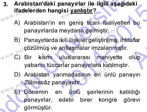 İslam Tarihi ve Medeniyeti 1 Dersi 2014 - 2015 Yılı Ara Sınavı 3. Soru