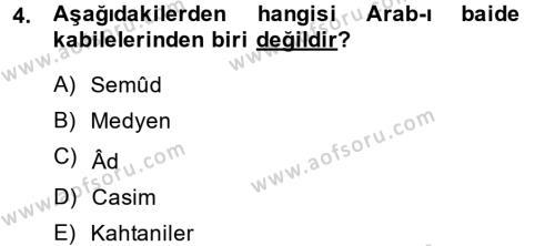 Tarih Bölümü 1. Yarıyıl İslam Tarihi ve Medeniyeti I Dersi 2015 Yılı Güz Dönemi Ara Sınavı 4. Soru