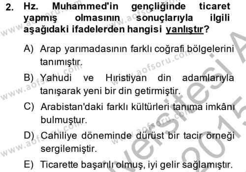 İslam Tarihi ve Medeniyeti 1 Dersi 2014 - 2015 Yılı Dönem Sonu Sınavı 2. Soru