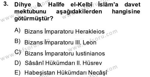 İslam Tarihi ve Medeniyeti 1 Dersi 2014 - 2015 Yılı Dönem Sonu Sınavı 3. Soru