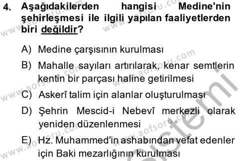 Tarih Bölümü 1. Yarıyıl İslam Tarihi ve Medeniyeti I Dersi 2015 Yılı Güz Dönemi Dönem Sonu Sınavı 4. Soru