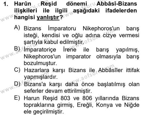 Tarih Bölümü 2. Yarıyıl İslam Tarihi ve Medeniyeti II Dersi 2013 Yılı Bahar Dönemi Dönem Sonu Sınavı 1. Soru
