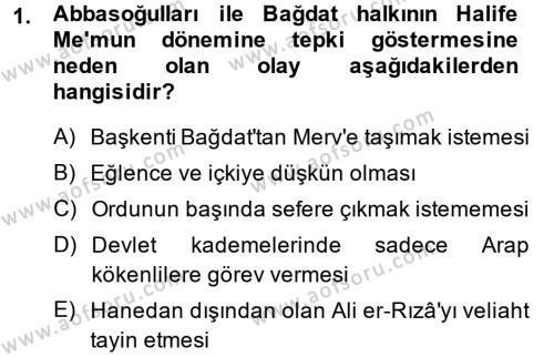 Tarih Bölümü 2. Yarıyıl İslam Tarihi ve Medeniyeti II Dersi 2014 Yılı Bahar Dönemi Ara Sınavı 1. Soru