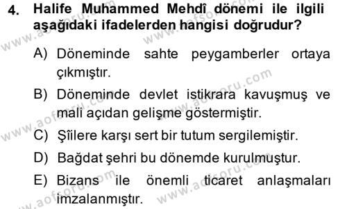 İslam Tarihi ve Medeniyeti 2 Dersi 2013 - 2014 Yılı Ara Sınavı 4. Soru