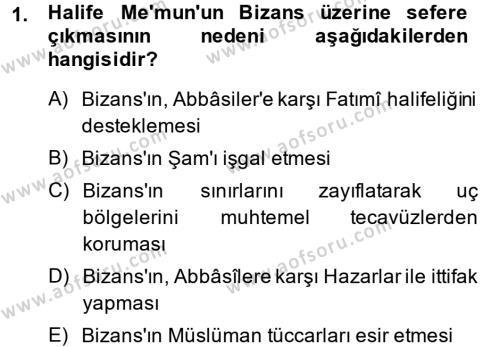 Tarih Bölümü 2. Yarıyıl İslam Tarihi ve Medeniyeti II Dersi 2015 Yılı Bahar Dönemi Dönem Sonu Sınavı 1. Soru