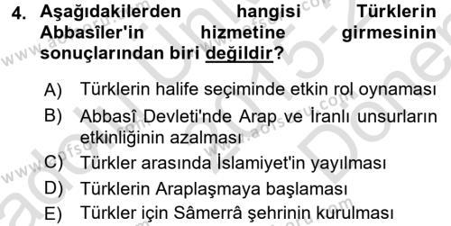 İslam Tarihi ve Medeniyeti 2 Dersi 2015 - 2016 Yılı Dönem Sonu Sınavı 4. Soru