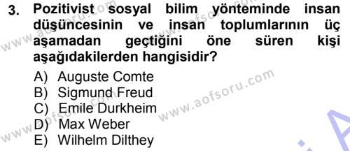 Tarih Metodu Dersi 2012 - 2013 Yılı (Final) Dönem Sonu Sınav Soruları 3. Soru