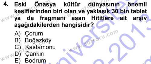 Tarih Metodu Dersi 2012 - 2013 Yılı (Final) Dönem Sonu Sınav Soruları 4. Soru