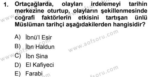 Tarih Bölümü 1. Yarıyıl Tarih Metodu Dersi 2014 Yılı Güz Dönemi Dönem Sonu Sınavı 1. Soru