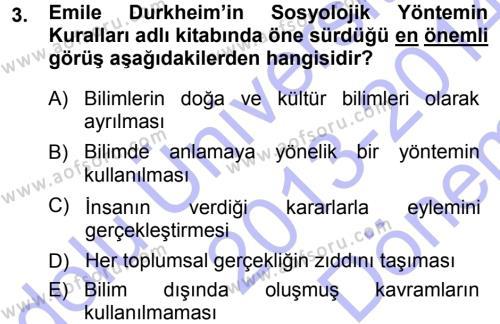 Tarih Metodu Dersi 2013 - 2014 Yılı Dönem Sonu Sınavı 3. Soru