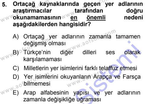 Tarih Bölümü 1. Yarıyıl Tarih Metodu Dersi 2014 Yılı Güz Dönemi Dönem Sonu Sınavı 5. Soru