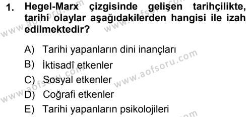 Tarih Metodu Dersi 2014 - 2015 Yılı Ara Sınavı 1. Soru