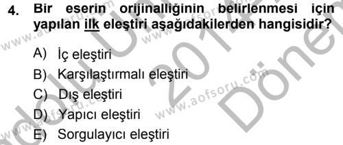 Tarih Metodu Dersi 2014 - 2015 Yılı Dönem Sonu Sınavı 4. Soru