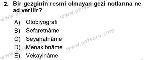 Tarih Metodu Dersi 2017 - 2018 Yılı Ara Sınavı 2. Soru