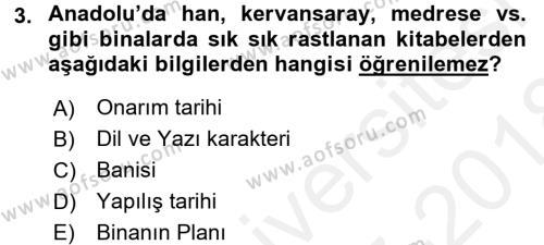 Tarih Metodu Dersi 2017 - 2018 Yılı Dönem Sonu Sınavı 3. Soru